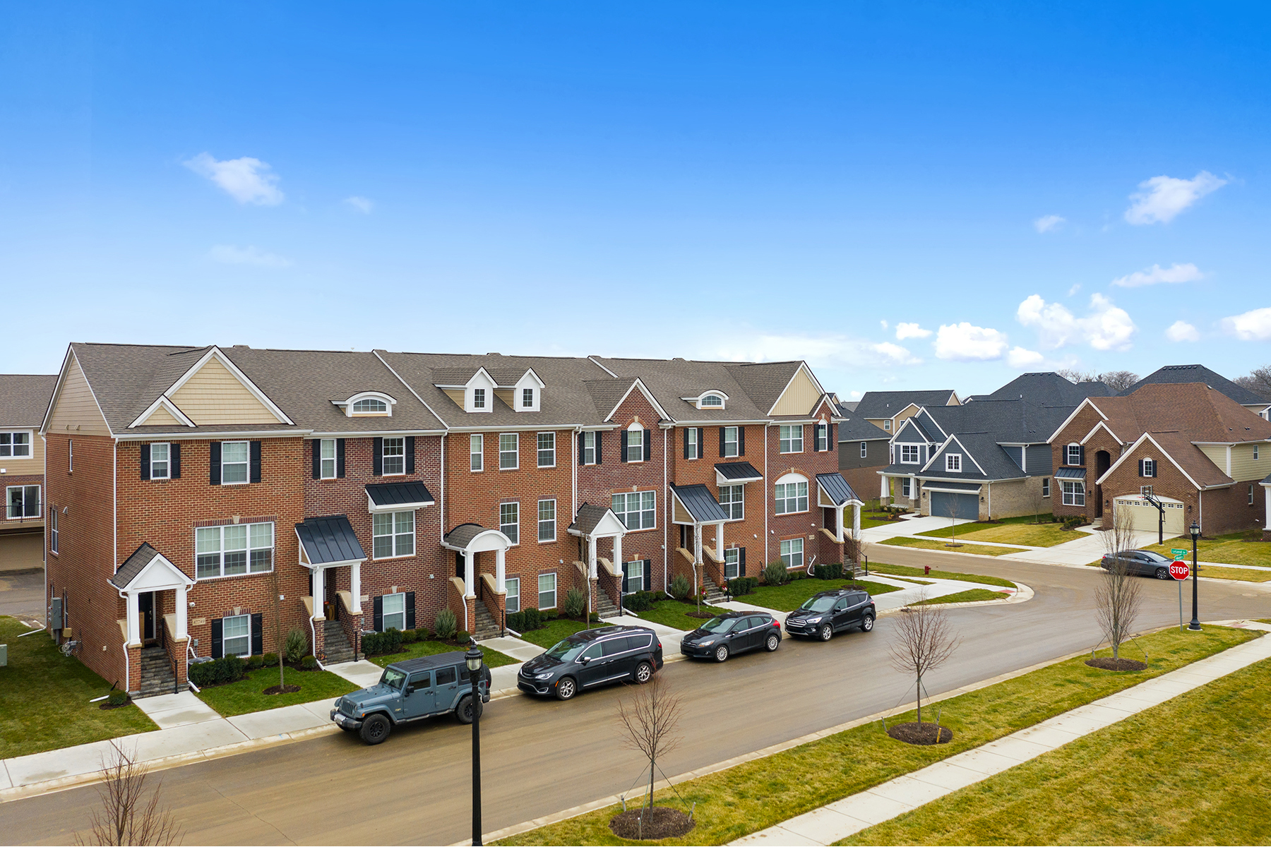 Village at Northville Townhomes Streetscape