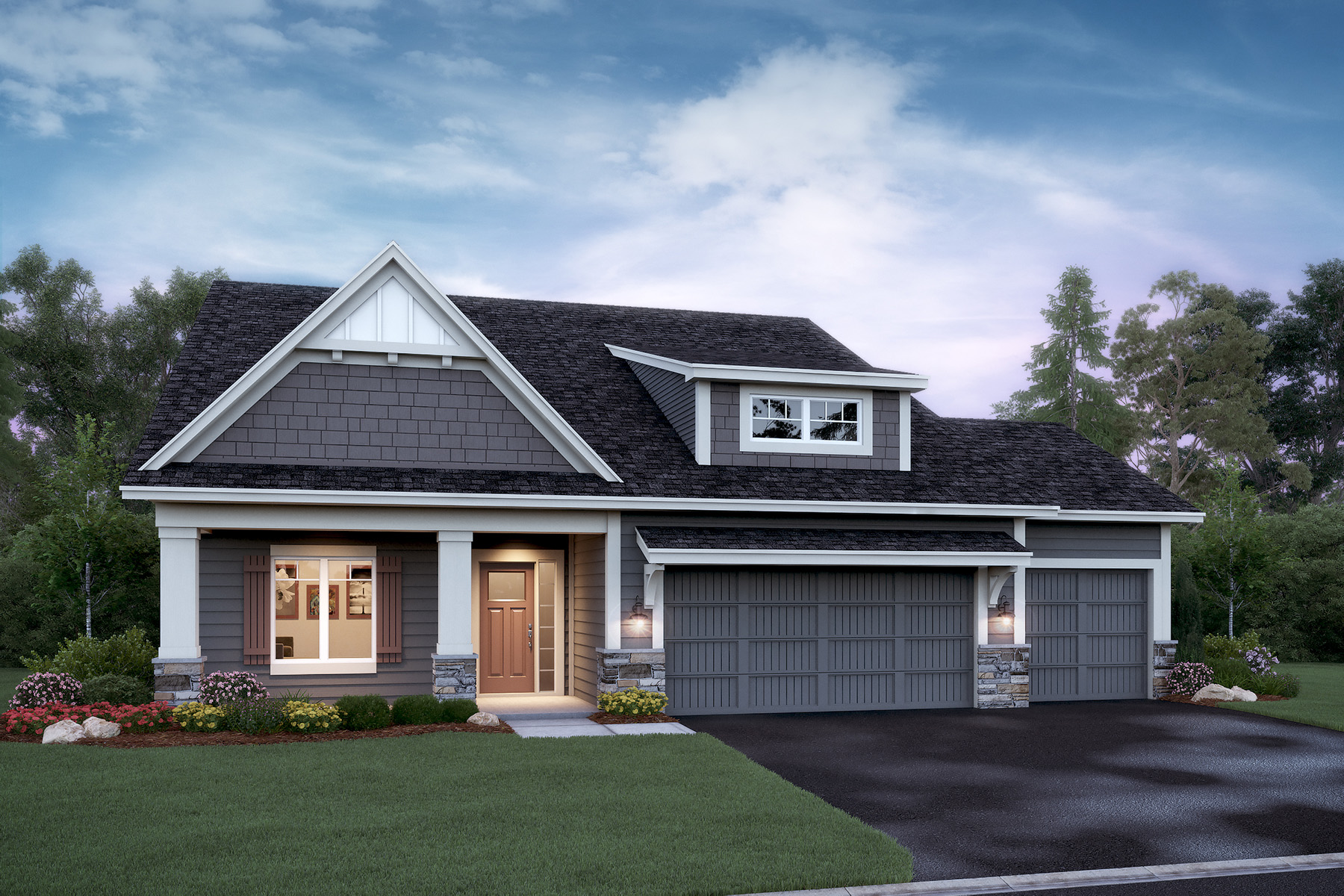 Willow 3-Car Elevation D - Stone