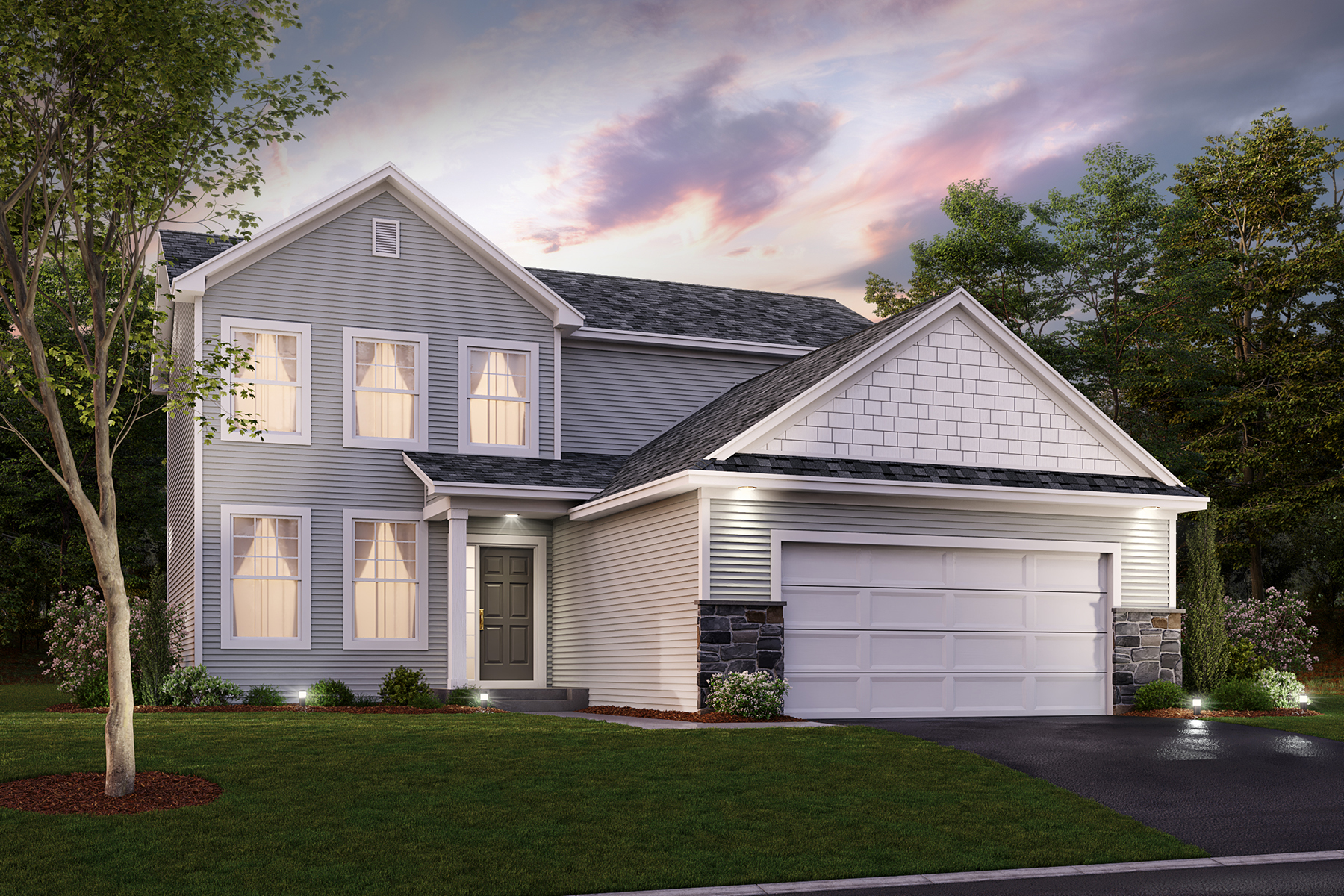 Canton Elevation A - Stone