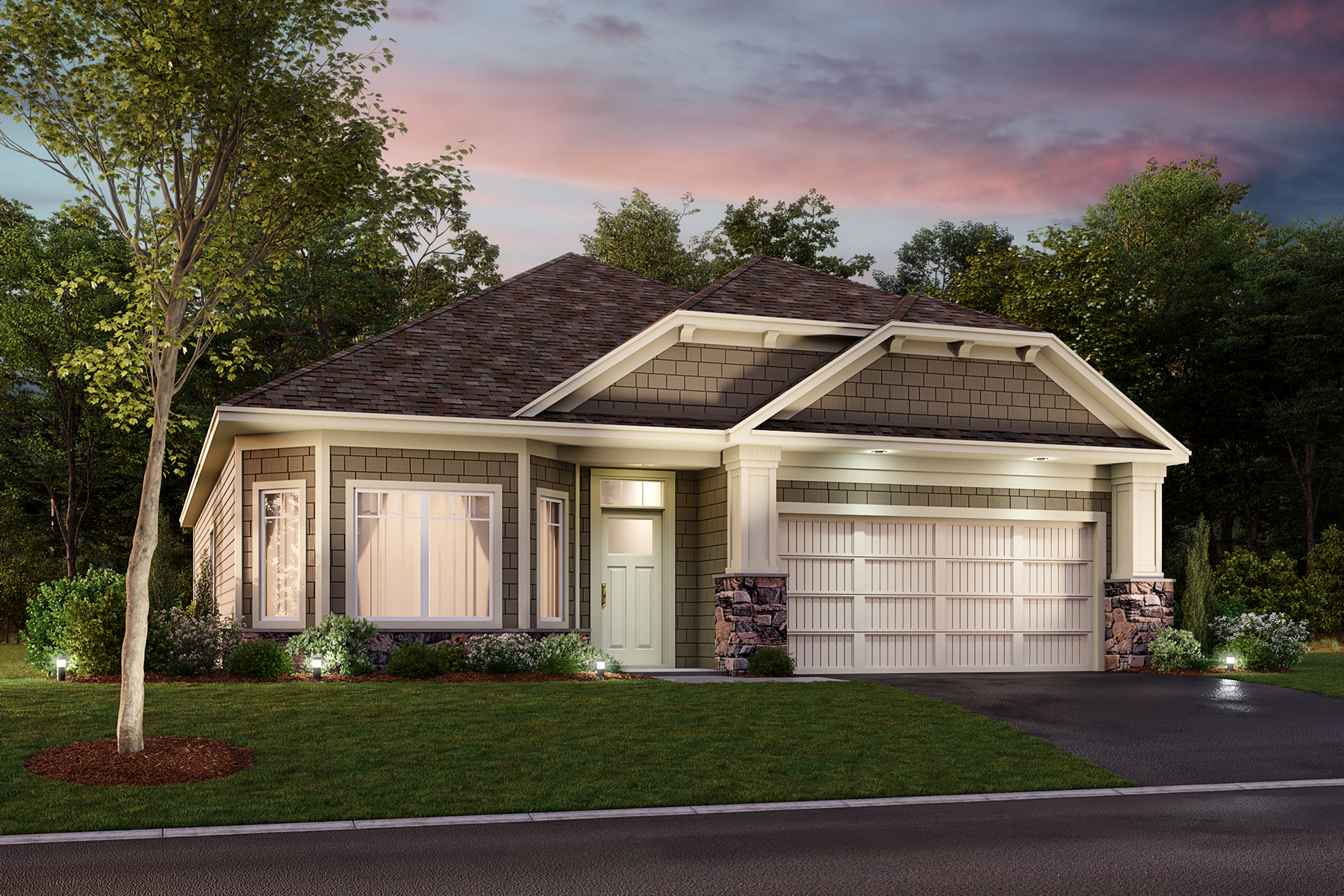 Cedarwood 2-Car Elevation G - Stone