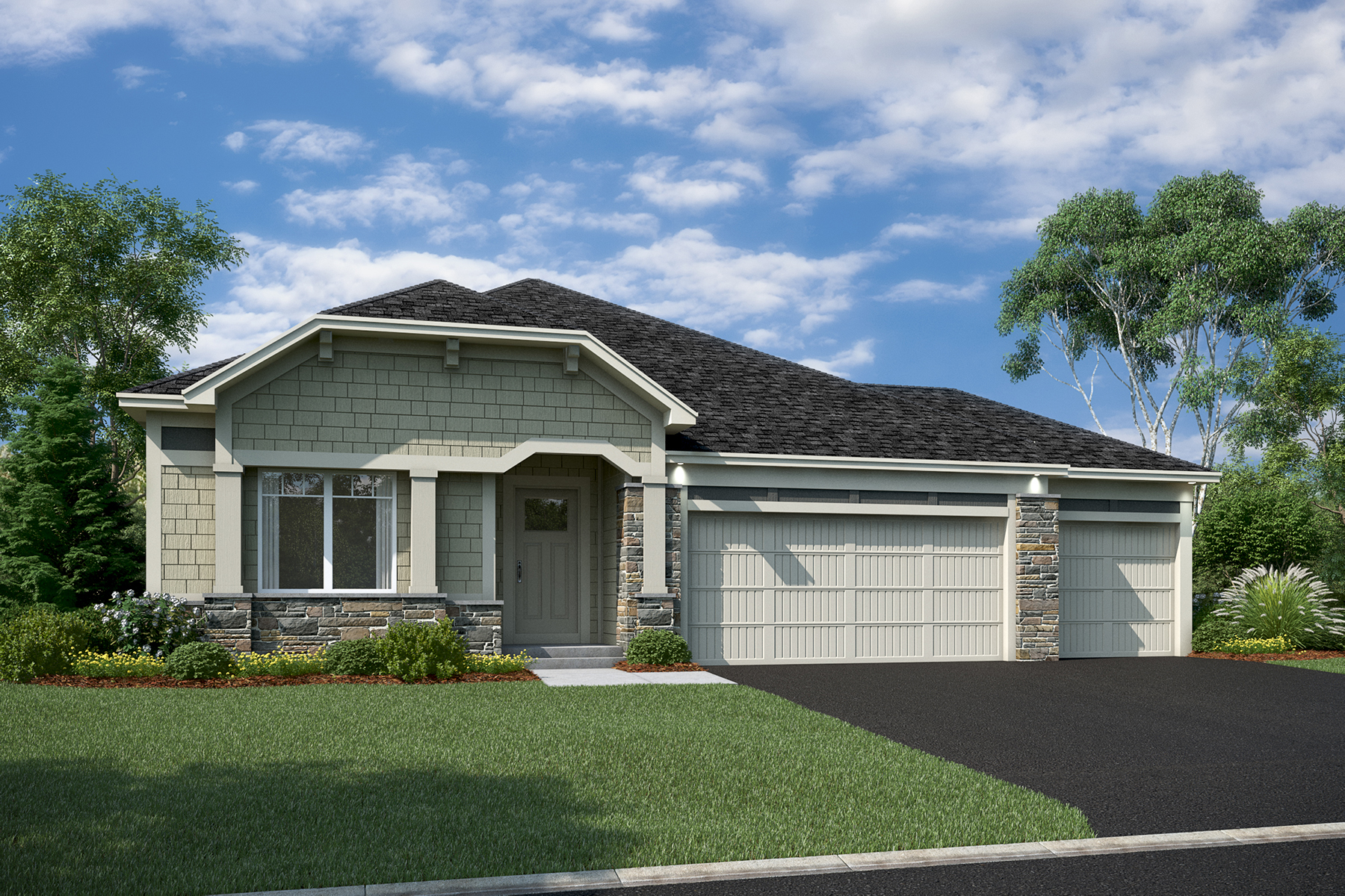 Hillcrest Elevation E – Stone 3-Car