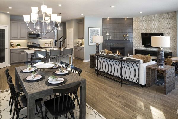 Modern Rustic Dining Area and Kitchen
