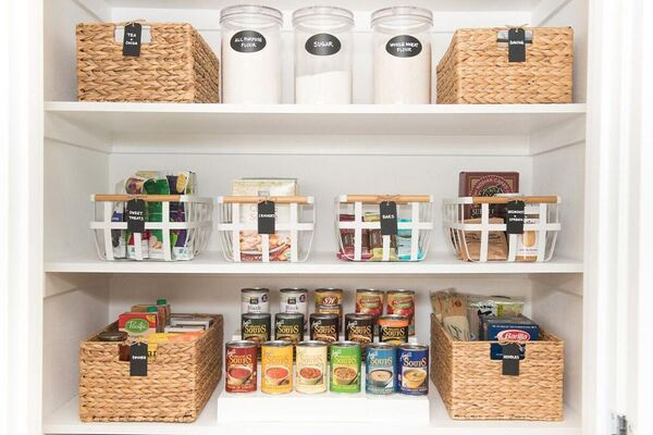 Organized Pantry With Storage Containers