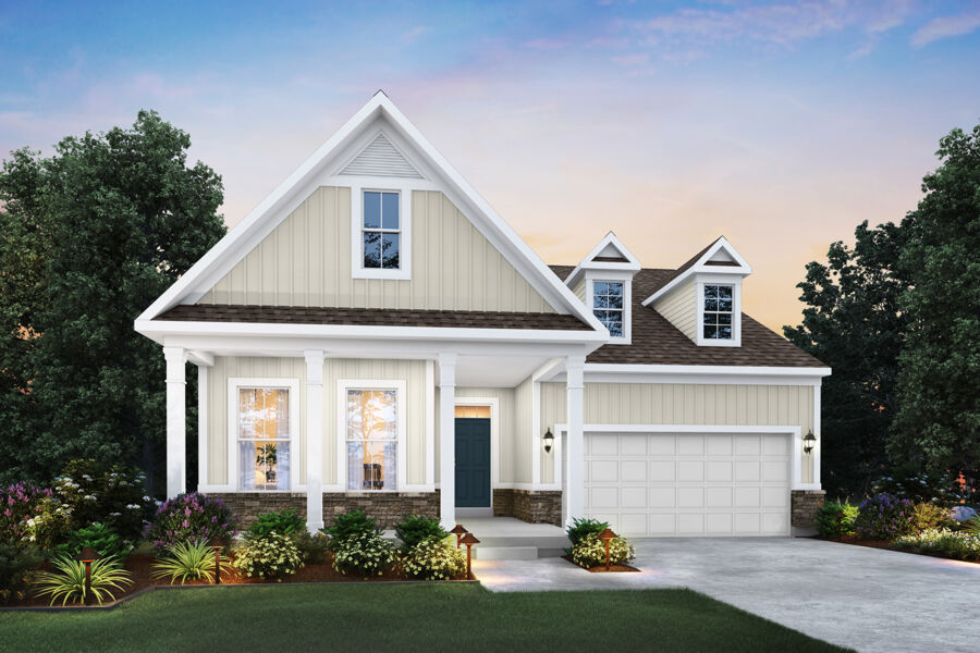 Cooper - Elevation B (Optional Coach Lights and Stone Wainscot)
