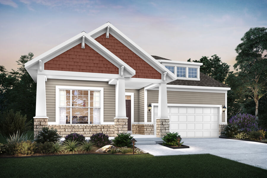 Cooper - Elevation C (Optional Coach Lights and Stone Wainscot)